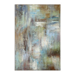 Uttermost - Uttermost Dewdrops Modern Art - On hardback board. This hand painted artwork is on linen fabric mounted to a wooden backboard. Due to the handcrafted nature of this artwork, each piece may have subtle differences.