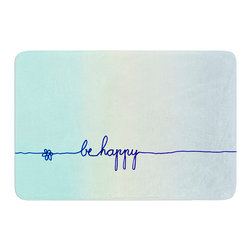"KESS InHouse - Monika Strigel ""Be Happy Aqua"" Simple Blue Memory Foam Bath Mat (17"" x 24"") - These super absorbent bath mats will add comfort and style to your bathroom. These memory foam mats will feel like you are in a spa every time you step out of the shower. Available in two sizes, 17"" x 24"" and 24"" x 36"", with a .5"" thickness and non skid backing, these will fit every style of bathroom. Add comfort like never before in front of your vanity, sink, bathtub, shower or even laundry room. Machine wash cold, gentle cycle, tumble dry low or lay flat to dry. Printed on single side."