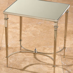 Rectangular French Square Leg Table - Nickel & Mirror - Reflective polish expands your space and enhances your light � and when applied to functional furnishings, suggests a taste for the exquisite in your choice of home accents.  Made from silvery nickel and panels of mirrored glass, this Rectangular French Square Leg Table is glamorously completed by curved stretchers and a delicate finial beneath.
