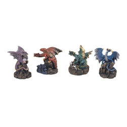 GSC - Dragon Collection Set of Four Decorative Dragons Fantasy Collectible - This gorgeous Dragon Collection Set of Four Decorative Dragons Fantasy Collectible has the finest details and highest quality you will find anywhere! Dragon Collection Set of Four Decorative Dragons Fantasy Collectible is truly remarkable.