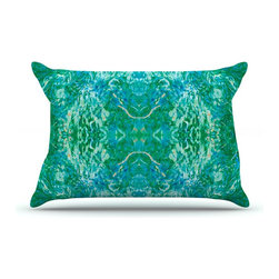 """Kess InHouse - Nikposium """"Eden"""" Teal Green Pillow Case, King (36"""" x 20"""") - This pillowcase, is just as bunny soft as the Kess InHouse duvet. It's made of microfiber velvety fleece. This machine washable fleece pillow case is the perfect accent to any duvet. Be your Bed's Curator."""