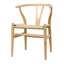 Wishbone Chair - Wishbone Y chair features traditional wood and is paired with a modern design, resulting in a unique piece for your home. The frame consists of solid wood with a natural finish, a comfortably-curved backrest, and sturdy natural hemp seat. This item will arrive fully assembled, and is also available in a lighter brown wood stain. This is a quality reproduction of the Hans Wegner Wishbone Chair, which is also known as the Wegner Y Chair, Carl Hansen Wishbone Chair, CH24 Wishbone Chair, and the Wegner CH24.