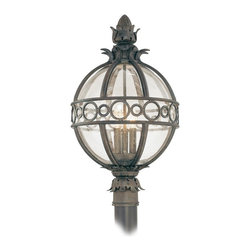 "Troy - Campanile Collection 24"" High Outdoor Post Light - The Campanile outdoor collection from Troy Lighting is bursting with Mediterranean beauty and charm. This spectacular design is crafted from hand-forged iron and features classic acanthus leaf details. The frame presented in a Campanile bronze finish surrounds a center of clear seedy glass which gracefully displays the glowing fixtures within. A wonderful design for lighting your outdoor spaces. Hand-forged iron construction. Campanile bronze finish. Clear seedy glass. Takes three 60 watt candelabra bulbs (not included). 24"" high. 14"" wide. Post not included.  Hand-forged iron construction.   Campanile bronze finish.   Clear seedy glass.   Takes three 60 watt candelabra bulbs (not included).   24"" high.   14"" wide.   Post not included."