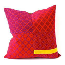 Pachay Huipil-Velvet Pillow - Designed by Lorenz Filati, this pillow embodies all that a textile lover holds dear. Vintage huipil and yellow velvet ribbon are juxtaposed and renewed to fit our modern decorating styles. Beautiful on both sides.