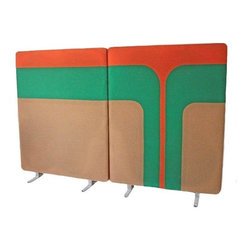 Pre-owned Mid-Century Mod Room Divider Wall Panels - Very modern and eclectic pair of room divider panels. The panels consist of a traditional cubicle type panel with a hopsack type material that has a fantastic Mid-Mod design. The opposing side has a solid modern orange color.     The panels have their original steel feet. The fabric covering them is in great condition, however, due to age, there is a slight discoloration on the fabric covering the panels. This can be seen in the photos. These would look fantastic used for its intended purpose, or even re-purposing them as a headboard or wall art.