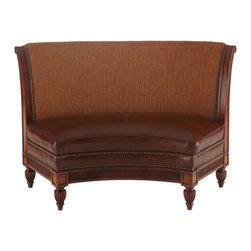 """Massoud - """"Hudson"""" Banquette - Massoud""""Hudson"""" BanquetteHighlightsCreate a cozy setting with a collection of banquettes around your dining table. Sold individually. Made in the USA.Handcrafted of beech wood.Inside back and outside are covered in polyester/rayon/cotton.Leather seating.61""""W x 32""""D x 40""""T; seat is 53""""W x 19""""D x 19""""T.Designer About Massoud:Company president Chuck Massoud's father combined his entrepreneurial spirit with loans from three friends to start Massoud Furniture in 1962. Since then the Massoud family has been crafting its distinctive brand of custom seating. Massoud is credited for putting pitch in their wing chairs leaning them back slightly makes them so much more comfortable than the classic wing chair with a straight back. All Massoud furniture features kiln-dried hardwood frames and the finest leathers and fabrics available. They also employ multiple support rails reinforced corner blocks mortise-and-tenon joinery and suspended coil systems for comfort and quality craftsmanship that lasts a lifetime."""