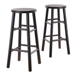 "Winsome Wood - Winsome Wood Set of 2 - 30 Inch Bevel Seat Stool - Set of 2 solid wood 30""bar stools with beveled seat in Espresso finish . Rounded legs are sturdy; able to hold up to 200lbs. The beveled seat is contoured for comfort. The stools ship fully assembled Barstool (2)"