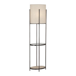 Robert Abbey - Robert Abbey Colonnade Tray Table Floor Lamp Z2856 - Deep Patina Bronze Finish with Travertine Stone Base