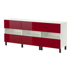IKEA of Sweden - BESTÅ Storage combination with doors - Storage combination with doors, white, high gloss red