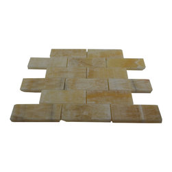 "Honey Polished Bricks Pattern Mesh-Mounted Onyx Tiles - 2"" x 4""Honey Mesh-Mounted Bricks Pattern Onyx Mosaic Tile is a great way to enhance your decor with a traditional aesthetic touch. This polished mosaic tile is constructed from durable, impervious onyx material, comes in a smooth, unglazed finish and is suitable for installation on floors, walls and countertops in commercial and residential spaces such as bathrooms and kitchens."