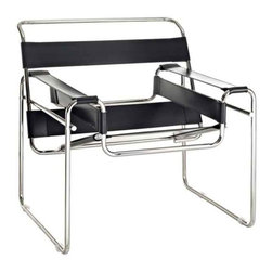 Modway - Slingy Chair In Genuine Black Leather - Eei-563-Blk - Chrome-Finished Frame