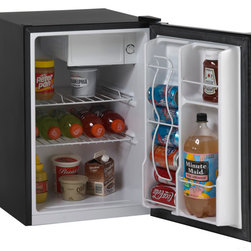 "Avanti - 2.4 Cu Ft Deluxe Compact Refrigerator - 2.4 CF Capacity, Manual Defrost, Separate Chiller Compartment for Short Term Storage, 2 Liter Bottle Storage on the Door, 2 Removable Wire Shelves, built-in Beverage Can Dispenser, Full Range Temperature Control, Space Saving Flush Back Design, Recessed Door Handle, Reversible Door (Left or Right Swing), CFC Free R600A Refrigerant, Meets 2014 DOE Standards, ADA Compliant, unit dimensions: 25.25"" H x 17.25"" W x 20"" D."
