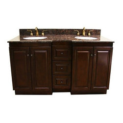 Legion Furniture - 60 in. MDF Double Sink Vanity (Dark Walnut) - Finish: Dark Walnut. Includes vanity and granite top. Faucet not included. Dark tan brown granite top. Two doors. Three drawers. Modular system. Soft close hinges. Pre-drilled 8 in. c.c. faucet hole. cUPC certified porcelain undermount sink. 4 in. backsplash. Measurement tolerance:(+/- 0.25 in.). Made from solid poplar, veneered plywood and MDF. Dark walnut finish. Minimal assembly required. Top: 61 in. W x 22 in. D x 0.75 in. H. Left: 12 in. W x 21.5 in. D x 34 in. H. Center: 24 in. W x 21.5 in. D x 34 in. H. Right: 12 in. W x 21.5 in. D x 34 in. H