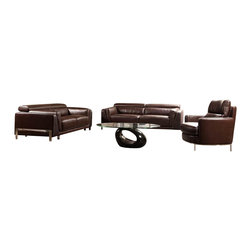VIG Furniture - 3946 Brown Top Grain Leather Sofa Set With Crocodile Texture Accents - The 3946 sofa set will add a modern touch to any decor while having you relax in comfort. This sofa set comes upholstered in a beautiful brown top grain leather in the front where your body touches. Carefully chosen match material is used on the back and sides where contact is minimal. Skillfully chosen match material is used on the back and sides where contact is minimal. High density foam is placed within the cushions for added comfort. piece is accented with a crocodile texture accent that runs along the length of the outer rim and arms. The sofa set includes one sofa, loveseat, and chair only.
