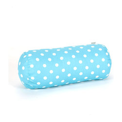 Majestic Home - Indoor Aquamarine Small Polka Dot Round Bolster - Do something dotty in your favorite casual setting. This plush, supportive bolster made of durable cotton twill is great on your couch — not to mention behind your neck or under your knees.