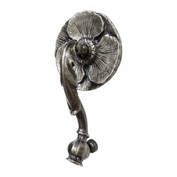 Studio DKS - Cast Brass Poppy Door Knocker, Antique Nickel, One Size - Cast in weighty solid brass, these botanical themed knockers are created with an innocuous looking poppy flower backplate and opium pod strike to announce guests. Created from a wax carving, they are sand cast in India and sealed in lacquer to withstand the elements.