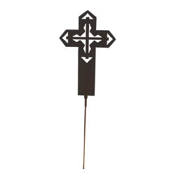 Z Garden Party, Inc. - Southwest Garden Art Cross on Stake - The Southwest Garden Art Cross on Stake is perfect for any yard or patio. It is hand made in the USA from heavy rusted steel. The cross is designed by California artist Susan Regert and features a cross within a cross.