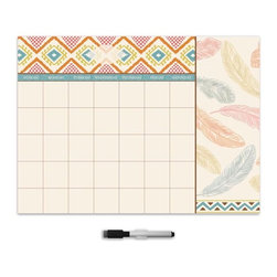 "Brewster Home Fashions - Tribal Beat Monthly Calendar Decal With Notes - With a stylish tribal print this dry-erase monthly calendar helps you to stay both organized and on trend. Fashioned with a special section just for notes this free-spirited design brings effortless beauty to your space. Comes on a 13"" x 17.75"" sheet and is safe for walls. Dry-erase marker included."