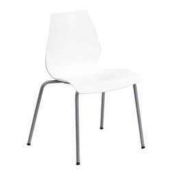 Flash Furniture - Hercules White Stack Chair with Lumbar Support and Silver Frame - This multi-purpose stack chair fits in a multitude of environments. This chair will make a great reception, meeting, office, and classroom or break room chair. The deeply curved back provides excellent comfort to your lumbar area. No matter what the function this multi-use chair will bring out the best in your event.
