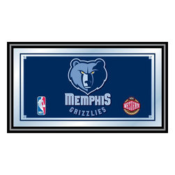 Trademark Global - Memphis Grizzlies NBA Framed Logo Mirror - Officially Licensed Full Color Artwork. Mirrored Glass Accents Team Logo. 1.25 Inch Black Wrapped Wood Frame. Includes Mounted Saw Tooth Hanger. Measures .75 (D) x 27 (W) x 15 (H) InchesReflect on the favorite memories of your favorite team with this officially licensed framed logo mirror. Authentic artwork is preserved under mirrored glass then bound by a black wrapped wood frame.  Post up your passion for the game while assisting your room's appearance with this professional grade logo mirror.