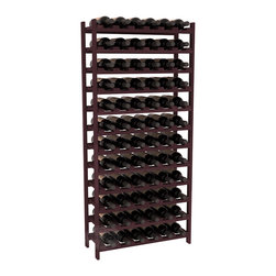 Wine Racks America - 72 Bottle Stackable Wine Rack in Premium Redwood, Burgundy Stain - Four kits of wine racks for sale prices less than three of our 18 bottle Stackables! This rack gives you the ability to store 6 full cases of wine in one spot. Strong wooden dowels allow you to add more units as you need them. These DIY wine racks are perfect for young collections and expert connoisseurs.