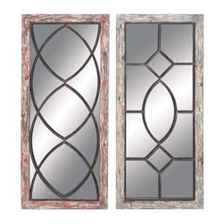 """Benzara - Elegant and Antique Wood Metal Mirror Decor - Set of 2 - Elegant and Antique Wood Metal Mirror Decor - Set of 2. This wood metal mirror flaunts a simple yet charming design which enhances decor aesthetics. It comes with following dimensions 16""""W x 1.5""""D x 36""""H. 16""""W x 1.5""""D x 36""""H."""