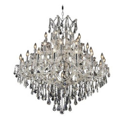 Elegant Lighting - Elegant Lighting 2801G44C Maria Theresa 37-Light, Three-Tier Crystal Chandelier, - Elegant Lighting 2801G44C Maria Theresa 37-Light, Three-Tier Crystal Chandelier, Finished in Chrome with Clear CrystalsElegant Lighting 2801G44C Features: