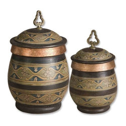 Uttermost - Uttermost Cena Canisters in Blue (Set of 2) - These decorative, terra cotta canisters have a distressed chestnut finish with sage green, blue, golden yellow, and antiqued metallic copper hand painted details. Removable lids. Sizes: Small - 7x13x7, Large - 10x15x10.