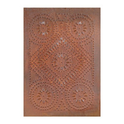 """USA Handcrafted - Four Handcrafted Punched Tin Cabinet Panel Quilted Diamond Design, Rustic Tin - Our punched panels are handcrafted in Pennsylvania, available in copper or a variety of tin finishes, they are perfect cabinet inserts, and suitable for all of your primitive country decorating needs, Sold in Packs of Four, Each Measures 10"""" wide X 14"""" hi"""