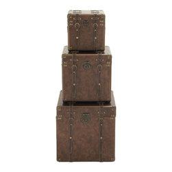 Benzara - Beautiful and Unique Style Wood Leather Case Set of 3 Home Decor - Description: