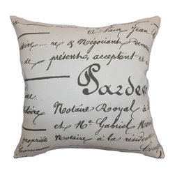 "The Pillow Collection - Saloua Typography Pillow Village Blue Natural 18"" x 18"" - This contemporary throw pillow adds a chic and modern touch to your home. Infuse your space with this gorgeous accent pillow which features a French script print pattern. The village blue hued background creates a lovely contrast with the black colored pattern. This decor pillow easily blends with various patterns and solids. Decorate your sofa, bed or sectionals with this square pillow. Made from 100% soft cotton fabric. Hidden zipper closure for easy cover removal.  Knife edge finish on all four sides.  Reversible pillow with the same fabric on the back side.  Spot cleaning suggested."