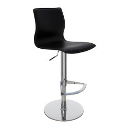 Nuevo Living - Weston Adjustable Stool, Black - The elegant look of luxurious leather-covered curves is just the beginning here. This stool offers the ultimate in comfort, too — thanks to easy-to-operate height adjustment and a seat back and footrest for support.