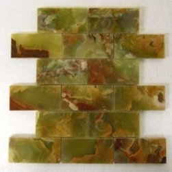 "Dark Green Onyx 2"" x 4"" Mosaic Polished Mesh-Mounted Tiles - 2"" x 4"" Multi Green Onyx Mesh-Mounted Mosaic Tile is a great way to enhance your decor with a traditional aesthetic touch. This Polished Mosaic Tile is constructed from durable, impervious Onyx material, comes in a smooth, unglazed finish and is suitable for installation on floors, walls and countertops in commercial and residential spaces such as bathrooms and kitchens."