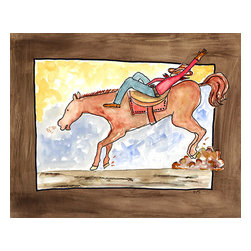 Oh How Cute Kids by Serena Bowman - Ride em Cowboy, Ready To Hang Canvas Kid's Wall Decor, 8 X 10 - YIPPEE-KI-YAY!  This is classic theme of Ridin' and ropin' cowboys kicking up clouds of dust  - can go with any little guy's decor! I love this picture - a little more rowdy than my normal fare!
