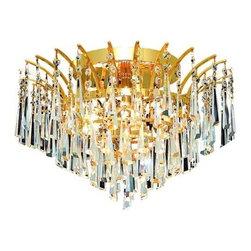 Elegant Lighting - Elegant Lighting 8032F16G Victoria 6-Light, Single-Tier Flush Mount Crystal Chan - Elegant Lighting 8032F16G Victoria 6-Light, Single-Tier Flush Mount Crystal Chandelier, Finished in Gold with Clear CrystalsElegant Lighting 8032F16G Features: