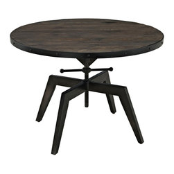INDUSTRIAL ROUND COFFEE TABLE WITH WOODEN TOP AND BLACK  IRON BASE GASPAR - Solid industrial round top coffee table with wooden top.