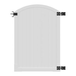 Wam Bam Premium Arched Vinyl Gate - 6 ft. - Tall wooden gates look fabulous when they're new and freshly painted, but when they quickly become less-than-new and not-so-freshly painted, you'll wonder why you didn't make the change to the Wam Bam Premium Arched Vinyl Gate - 6 ft. earlier. This tall gate is constructed from 100% virgin white, mono-extruded vinyl. That means that not only is it weatherproof and easy to clean, your new fence is white through and through so scratches and scuffs won't be easy to see. UV inhibitors are included in the vinyl body, so fading and discoloration are guaranteed to not be an issue. Every piece you need to assemble this fence is included, and the instructions will make assembly easy, and perish the thought, you might actually have fun putting it together. The self-adjusting hinges and spring-loaded latch are all crafted from stainless steel with a black, powder-coated finish. Please not that this kit only includes the gate and gate hardware. Upright posts like the Wam Bam Premium Vinyl Posts are required, and must be purchased separately.Additional Features:Look of freshly painted wood without the maintenanceSelf-adjusting hinges and a spring-loaded latch that works on either sideRated for a Category 1 hurricane, or 74 mph windsUV-inhibitors guaranteed to maintain a bright, white colorWeather-resistant design won't fade, crack or warpMono-extruded vinyl is white through and throughWeight: 43 lbs.About WamBamWamBam's mission is pretty simple: To change the world of do-it-yourself fencing. They've been at work manufacturing outdoor vinyl products since the '90s, although their roots in the fencing industry stretch back almost 30 years. WamBam's products offer customers fencing that is not only durable and weatherproof, but their products incorporate a no-dig system of installation that is revolutionizing fencing in the USA and Canada. Today, they focus on the customer with interactive customer support and supply chains that cut out the middle-man, big-box expenses and deals directly with the end user.