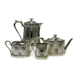 Lavish Shoestring - Consigned Silver Plated Tea and Coffee Set by James Dixon, Antique English - This is a vintage one-of-a-kind item.