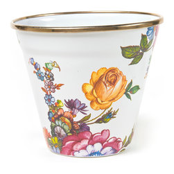Flower Market Enamel Pot - White | MacKenzie-Childs - Who doesn't need a useful pot to put things in? Our Flower Market Enamel Pot is color glazed and decorated with hand-applied fanciful botanical transfers that recall a lush English garden in the peak of summer, and rimmed in bronzed stainless steel. For plants, naturally, but also ice cream, popcorn, a petite ice bucket, or even a flowerpot bread pan.