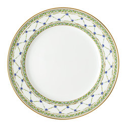 Raynaud - Alle Royale Porcelain Buffet Plate - Each piece of this collection flaunts a subtle floral design in a soothing blue palette with gold accents. The delicate detail on this dinnerware makes a classic yet eye-catching addition to your tabletop.