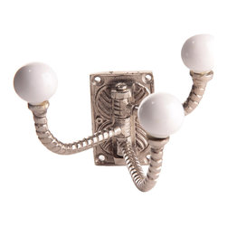 """MarktSq - Three In One Hook - Beautifully carved hook with ceramic ends. (Hardware not included). Imported. Approximate Dimensions: H 4"""" x W 6.5"""" x D 4.5"""""""