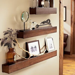 "Rustic Wood Ledge, 4', Espresso stain - Our space-saving shelves provide handsome display space for frames and decorative objects. 2' wide x 5"" deep x 4"" high 3' wide x 5"" deep x 4"" high 4' wide x 5"" deep x 4"" high Crafted of bayur wood with a dark, rustic stain. Watch a video on how to install {{link path='/stylehouse/videos/videos/h2_v3_rel.html?cm_sp=Video_PIP-_-PBQUALITY-_-HANG_LEDGESSHELVES' class='popup' width='420' height='300'}}ledges and shelves{{/link}}. Catalog / Internet only."