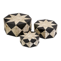 """IMAX CORPORATION - Lanta Bone Inlay Boxes - Set of 3 - The star pattern and octagonal shape of this set of three Lanta bone inlay boxes evokes the nostalgic feel of a traveling circus. For a coordinated look, display with the Lanta bone inlay photo frames and tray. Set of 3 in various sizes measuring around 9""""l x 4.75""""W x 9.25""""H each. Shop home furnishings, decor, and accessories from Posh Urban Furnishings. Beautiful, stylish furniture and decor that will brighten your home instantly. Shop modern, traditional, vintage, and world designs."""