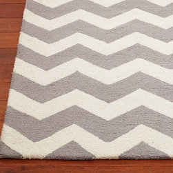 Chevron Wool Rug - Bold chevron stripes make a statement in a kids' room. This plushy rug would be perfect for play time and for adding a stylish accent to a nursery.