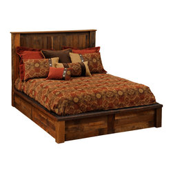 Fireside Lodge - Barnwood Platform Bed  Reclaimed Wood, California King Size - Reclaimed Red Oak Barnwood - California King Size. A  Barnwood  Platform  Bed  is  a  beautiful  way  to  showcase  your  appreciation  for  natural  reclaimed  wood.  Handcrafted  with  attention  to  detail,  this  attractive  aged  wood  bed  is  finished  in  a  clear  catalyzed  laquer  to  preserve  the  natural  colors  and  distinctive  character  of  the  wood.  Salvaged  from  19th  century    barns,  these  posts  and  planks  retain  the  saw  marks,  knots,  texture,  and  color  of  decades  of  wind  and  weather.                  Standard  T-support  in  all  queen  and  king  sizes              Add  an  optional  footboard  dresser  to  maximize  storage  space  (See  image  below). Includes  2  dovetail  drawers  with  full-extension  glides               Free  curbside  shipping  within  the  lower  48  states.              We  offer  shipping  upgrades  for  your  convenience,  including  inside  delivery  and  setup.                Old  World  Craftsmanship                      Optional  underbed  storage:  Choose  side  drawers  OR  footboard  drawers                                                Footboard  Dresser  -  Two-drawer                                  Underbed  3-Drawer  Dresser                                 Footboard  Dresser  is  available  as  an  add-on  to  any  rustic  Platform  Bed  crafted  by  Fireside  Lodge.                  Complete  Reclaimed  Wood  Platform  Bed  -  Dimensions  and  Pricing                                    Size                      Model                      Dimenisons                      Weight                      Price                                      King                      B10010-PF                      83Wx89Lx53H                      490                      2149.00                                      California  King                      B10010-CK-PF                      77Wx94Lx55H                      495                      2149.00                                      Queen                      B10040-PF                      65Wx89Lx53H                      425                      1959.00                                      Full  (Double)                      B10070-PF                      59Wx84Lx53H                      375                      1879.00                                      Twin  (Single)                      B10100-PF                      44Wx84Lx53H                      315                      1769.00                                  Footboard  Dresser  is  available  as  an  add-on  to  any  Platform  Bed  crafted  by  Fireside  Lodge.