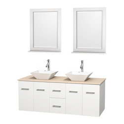 """Wyndham Collection - Centra Bathroom Vanity in White,Marble Top,Pyra White Sinks,24"""" Mirs - Simplicity and elegance combine in the perfect lines of the Centra vanity by the Wyndham Collection. If cutting-edge contemporary design is your style then the Centra vanity is for you - modern, chic and built to last a lifetime. Available with green glass, pure white man-made stone, ivory marble or white carrera marble counters, with stunning vessel or undermount sink(s) and matching mirror(s). Featuring soft close door hinges, drawer glides, and meticulously finished with brushed chrome hardware. The attention to detail on this beautiful vanity is second to none."""