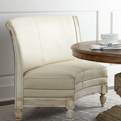 """Massoud - Bolin Banquette - NATURAL - MassoudBolin BanquetteDetailsEXCLUSIVELY OURS.Beechwwod frame with rub-through bisque finish.Leather and cotton upholstery.Treated with stain guard.61""""W x 32""""D x 40""""T; seat 19""""T.Made in the USA. Boxed weight approximately 150 lbs. Please note that this item may require additional delivery and processing charges.Designer About Massoud:Company president Chuck Massoud's father combined his entrepreneurial spirit with loans from three friends to start Massoud Furniture in 1962. Since then the Massoud family has been crafting its distinctive brand of custom seating. Massoud is credited for putting pitch in their wing chairs leaning them back slightly makes them so much more comfortable than the classic wing chair with a straight back. All Massoud furniture features kiln-dried hardwood frames and the finest leathers and fabrics available. They also employ multiple support rails reinforced corner blocks mortise-and-tenon joinery and suspended coil systems for comfort and quality craftsmanship that lasts a lifetime."""