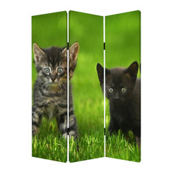 Curious Cat Screen - Crazy for your kitties? Well, this adorable privacy screen is for you. Two different sets of furry friends are featured on each side of this canvas screen. Use it for added privacy or to divide up a space in your home. Either way, it will have you purring with delight.