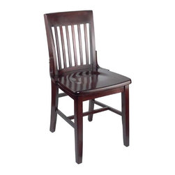 Holsag - Henry Schoolhouse Chair (Teak) - Finish: TeakTake the Henry schoolhouse chair and make it your own.  It arrives as a solid beech frame that you can stain and finish in any fashion to complement existing decor.  A traditional favorite that will be a great addition in any public or home setting.  This attractive schoolhouse style dining chair comes in a durable and solid beech wood composition that will fit your needs.  Its classic design features a slatted back and contoured seat. * European Beech frame. Elaborate 9-Step finishing process - Hand Stained Wood Finish, slight variations in color may occur. Commercial or home use. Slatted stool backs slatted for maximum comfort. Seat dimensions: 18.25 in. W x 16.25 in. D . Seat Height: 18 in.. 18.25 in. W x 20.75 in. D x 35 in. H