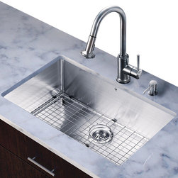 Vigo - All in One 30in.  Undermount Stainless Steel Kitchen Sink and Faucet Set - Add elegance and style to your kitchen with a VIGO All in One Kitchen Set featuring a 30in.  Undermount kitchen sink, faucet, soap dispenser, matching bottom grid and sink strainer.